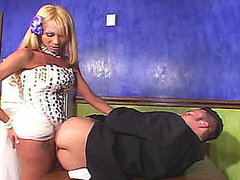 Red hawt shemale bride is about to give her kinky fiance a stiffy present