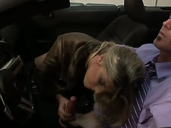Very pretty and utterly corrupted tranny prostitute Angelina Torres gives a blowjob to her regular client in his sports convertible and it looks smoking hot.