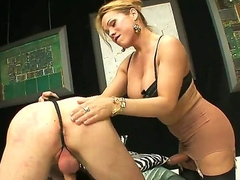 One of a king blonde shemale Mireira with nice hooters and long legs in stockings gets her cock sucked by tall handsome dude in bedroom while dominating over him.