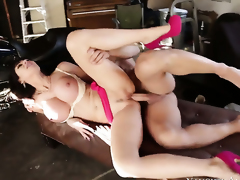 Eva Karera with smooth pussy is on the way to orgasm with Johnny Castles rod fucking her slit