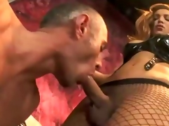 High class domination scene. The hot Claudia Polansky abusing her slave with whips, dildos and overall with her huge dick!