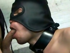 Mistress Foxi knows how to treat her nasty little slave.  She gives his ass a cropping that leaves it bright red as he worships her gorgeous feet.  She leaves him masked and when he performs, she lets him stroke and then suck her amazing cock before she rides his ass.