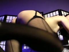 Asian ts yuri myeon tugging in stockings